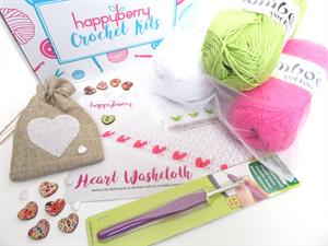 Crochet Kit - Heart Washcloths