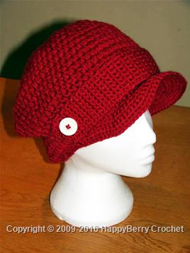 Red Cap with Buttoned Strap