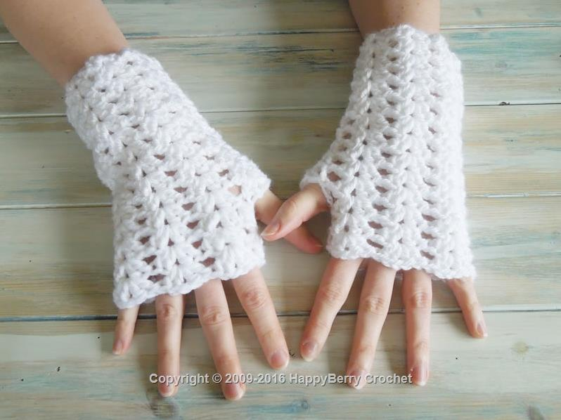 Iris Stitch Finger-less Mitten Wrist Warmers
