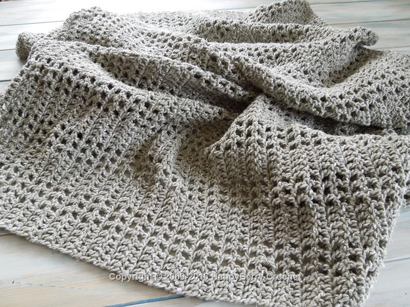 Crochet Stitches Uk Vs Us : Mesh Filet Afghan Blanket HappyBerry