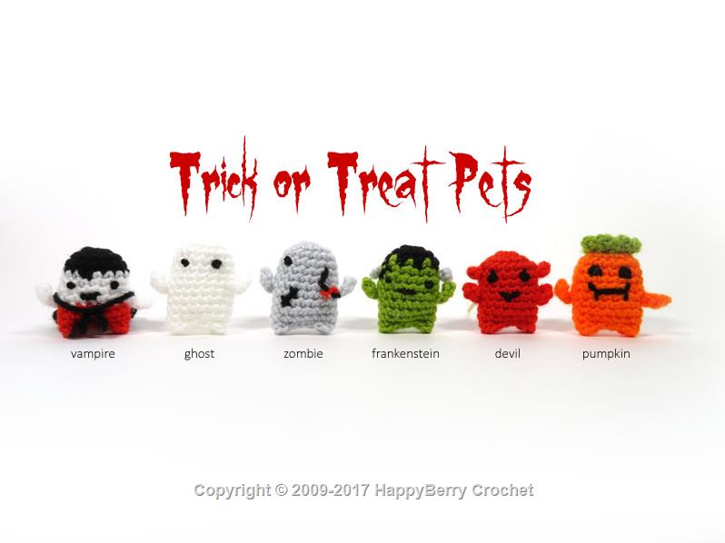 Amigurumi Halloween pattern for the Ghost, pumpkin cats and bats | 598x798