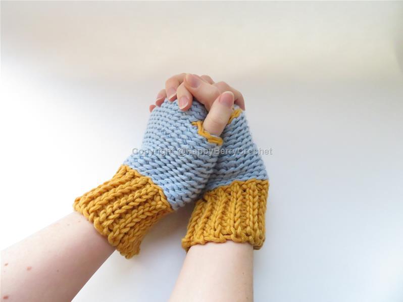 Slip Stitch Fingerless Gloves Happyberry