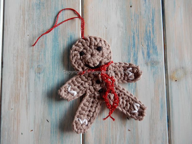 Crochet Gingerbread Man Christmas Decoration